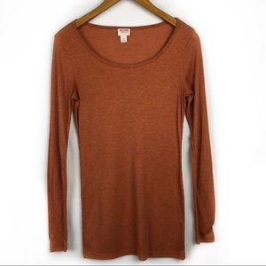 Mission Supply Co Orange Ribbed Long Sleeve Large